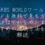 KBS WORLDワールドを無料で見る方法は?料金やおすすめの視聴方法を解説